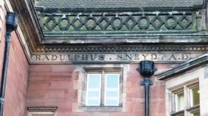 Ralph Sneyd's inscription on Keele Hall