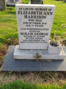 Keele: cenotaph: Hiram George Harrison (not on war memorial)